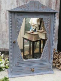 Antiek houten spiegelkastje medicijnkastje, lavendelblauw