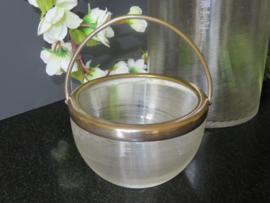 Oude antieke suikerpot van Fries draadglas, 1860-1920
