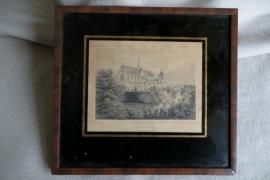 "Antieke staalgravure ""Leiden"", J. Poppel 1860"