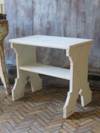 VERKOCHT Uniek oud houten krukje én trapje, bovenblad opklapbaar
