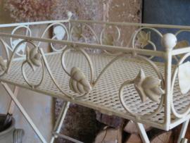 Brocante Franse metalen opklaptafel tuintafel bijzettafel