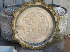 Antiek Marokkaans zilveren dienblad met koperen rand, 41 cm