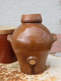 Oude Franse azijnpot met deksel en kurk, 30 cm