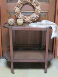 VERKOCHT Brocante ovale houten theetafel