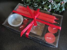 Kerst kaarsenset in cadeauverpakking (rood)