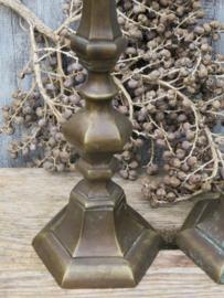 Stel antieke koperen kandelaars, 30 cm