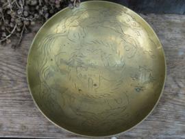 Oude Chinese koperen schaal, 26 cm