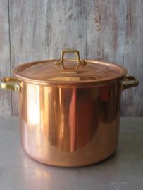 Grote roodkoperen kookpan met messing handgrepen, 6 liter
