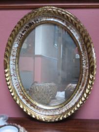 Kleine oude ovale spiegel, 30x25 cm
