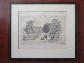 Antieke litho, Gezigt op het Kasteel Biljoen, H.W. Last ca. 1860