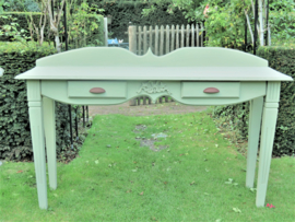 Brocante grijsgroene wandtafel sidetable, 1.40m breed