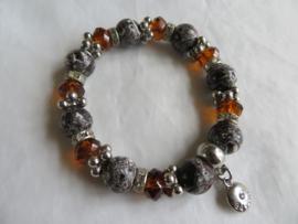 Nieuwe Bayou armband zilver grijs bruin