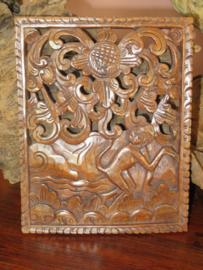 Oud Indonesisch teakhouten houtsnijwerk paneel, 25x19 cm