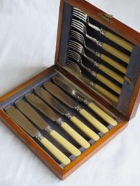 VERKOCHT Oud Engels visbestek met benen heft, in houten cassette