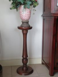 VERKOCHT Oude Engelse mahoniehouten plantentafel plantenzuil piedestal