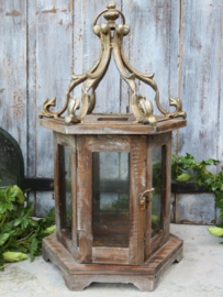 VERKOCHT Brocante windlicht lantaarn hout metaal en glas, 50 cm hoog
