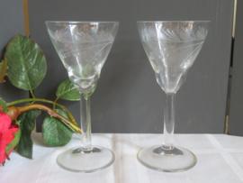 Oude kristallen likeurglazen, set van 2 stuks