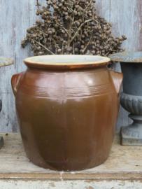 Oude Franse bruine grespot 24 cm (artikelnr. 91)