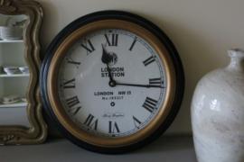 Engelse ronde wandklok GWR, zwart / goud, 38 cm