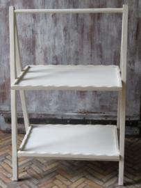 Brocante witte houten klaptafel plantentafel etagere