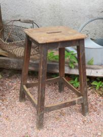 VERKOCHT Oud Frans houten krukje
