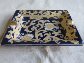 Klassieke keramiek asbak goud/blauw