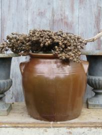 VERKOCHT Oude Franse bruine grespot 24 cm (artikelnr. 91)