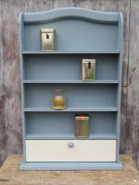 VERKOCHT Brocante blauw houten kruidenrek kruidenkastje miniaturenkastje