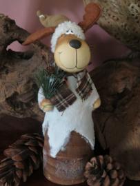 Brocante stenen kerstfiguur Rudolph de eland, 30 cm hoog