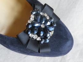 Zwarte schoenclips met stras, set van 2 stuks