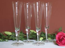 Kristallen champagne flutes, set van 4 stuks