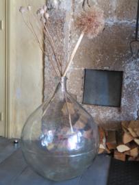 Oude Franse glazen gistfles XXL, inhoud 60 liter