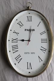 Ovale wandklok Paris in messing frame, 52 x 31cm