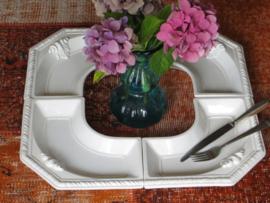 Witte aardewerk serveerschaal / hapjesschaal, set van 4 losse schalen