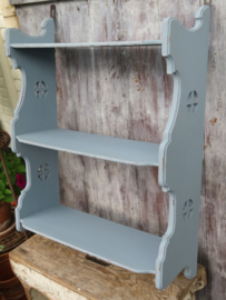 VERKOCHT Oud blauw houten wandrek