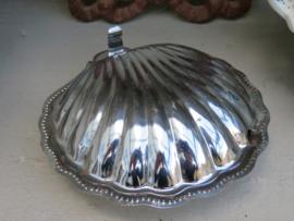 Metalen botervloot kaviaarschelp met blauw ingelegd glas