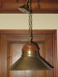 VERKOCHT Vintage industriele hanglamp met koperen kap