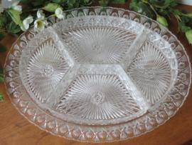 Oude kristallen hapjesschaal / verdeelschaal, 5-delig