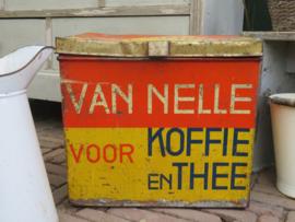 Groot oud Van Nelle winkelblik koffie en thee