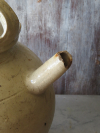 Antieke Franse gres gargoulette waterkruik wijnkruik
