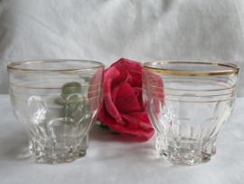 VERKOCHT Set van 2 glazen met goudranden