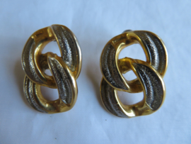 Vintage oorbellen oorstekers zilver/goud bicolour