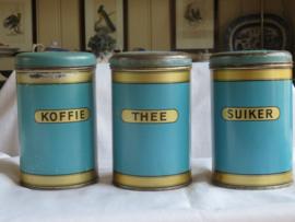 VERKOCHT Oude voorraadblikken voorraadbussen koffie thee suiker
