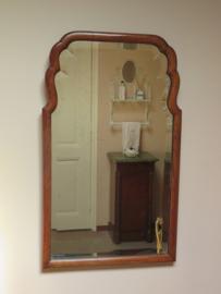 VERKOCHT Antieke facetgeslepen spiegel in mahonie lijst,  67x40 cm