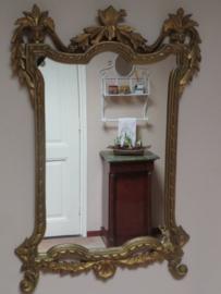 Oude barok spiegel in gouden lijst, 66 x 45 cm