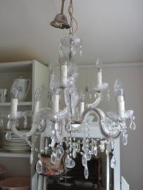 Maria Theresia kroonluchter glas met glazen pegels, 9-lichts