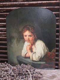Oude prent op hout, Meisje in het venster, Rembrandt, 36x29cm