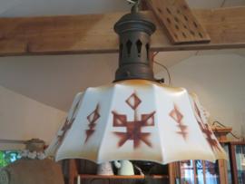 Art Deco metalen hanglamp met opaline glas