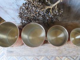 Set roodkoperen Engelse voorraadbussen bloem-suiker-koffie-thee