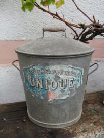 Oude Franse zinken afvalemmer wasemmer vuilnisemmer
